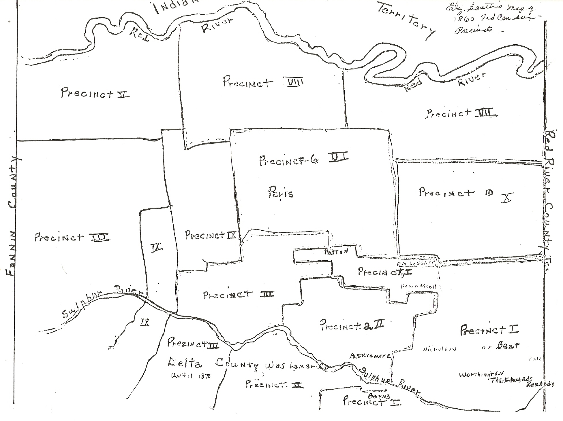 Map of Lamar County showing Precincts in 1860